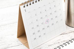 1月の卓上カレンダー