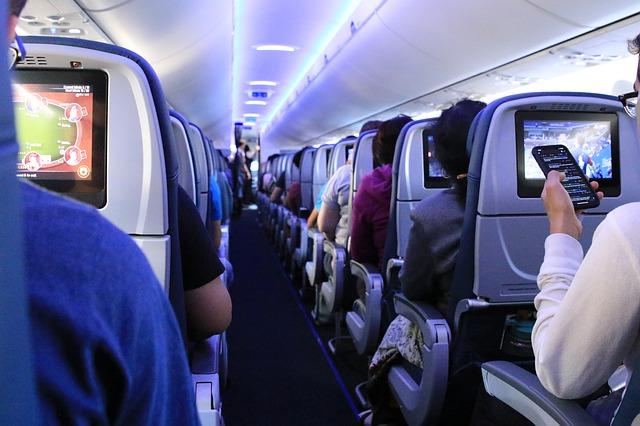 飛行機内の客席