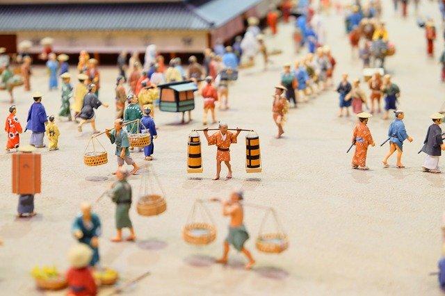 日本の江戸時代を表現したフィギュア