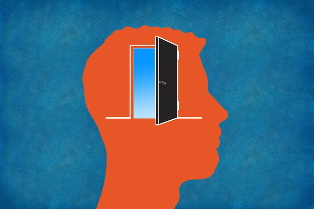 アウトプットをイメージした脳に扉が付いた人